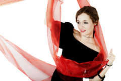 Woman in black dress with red sash. On white background Stock Photography