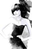 Woman in black dress Stock Photos