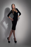 Woman in black dress Royalty Free Stock Image