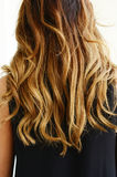Woman in black dress with wavy hair, back view Royalty Free Stock Photo