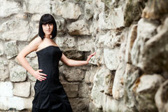Woman in a black dress Royalty Free Stock Photos