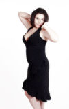 Woman in black dresss Stock Photo