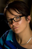 Woman in black eyeglasses Royalty Free Stock Image