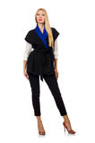 Woman in black fashionable vest isolated on white Royalty Free Stock Photography