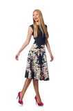 The woman in black floral dress isolated on white Royalty Free Stock Photography
