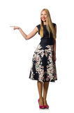 The woman in black floral dress isolated on white Stock Photo