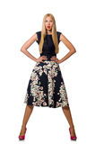 The woman in black floral dress isolated on white Royalty Free Stock Photo