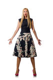 The woman in black floral dress isolated on white Stock Image