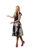 Woman in black floral dress  on white Stock Photography