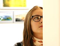 Woman in Black Frame Eyeglass Stock Photography