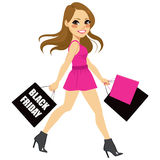 Woman Black Friday Shopping Stock Image
