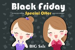 Woman with black friday. On the blackground Royalty Free Stock Image