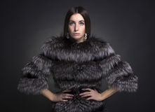 Woman in a black fur coat Stock Image