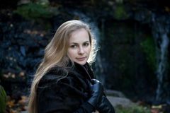 Woman in Black Fur Coat Royalty Free Stock Photography