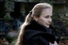 Woman in Black Fur Coat Royalty Free Stock Photo