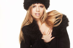 Woman in black fur hat and coat Royalty Free Stock Photo