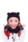 Woman with black gloves and hat Stock Photos