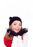 Woman with black gloves and hat Royalty Free Stock Images