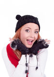Woman with black gloves and hat Stock Photography