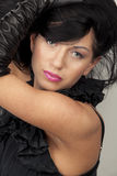 Woman with black hair Royalty Free Stock Photos