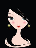 Woman with black hair. Woman with long black hair and gold earrings Stock Photos