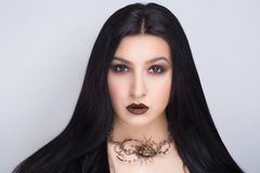 Woman black hair stock image