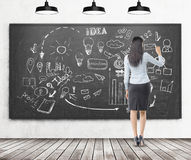 Woman with black hair drawing startup sketch on blackboard Stock Photo