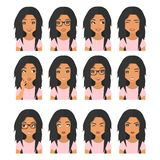 Woman with black brown hair and emotions. User icons. Avatar Vector illustration royalty free illustration