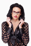 Woman with Black Hair and Glasses Stock Photo