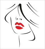 Woman with black hair and red lips Stock Photos