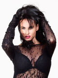Woman with Black Hair in Sexy See-Through Dress Royalty Free Stock Photography