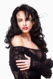 Woman with Black Hair in Sexy See-Through Dress Stock Photography