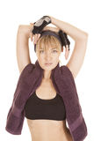 Woman black halter top sweat hands head Royalty Free Stock Images