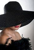 Woman in black hat. Portrait young woman in black hat Stock Photography