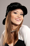 Woman in a black hat Stock Photo