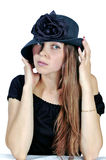 Woman in black hat 3 stock photos
