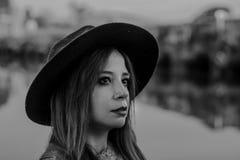 Woman in Black Hat Taken Photo Stock Image