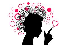 Woman black head silhouette with hand and pink heart with circles stock images