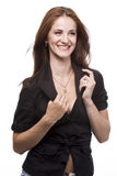 Woman in black jacket Royalty Free Stock Photography
