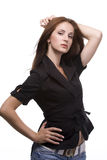 Woman in black jacket royalty free stock photo