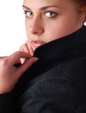 Woman in a black jacket Royalty Free Stock Photo