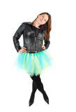 Woman in black jacket and ballet costume. Royalty Free Stock Photography
