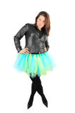 Woman in black jacket and ballet costume. Royalty Free Stock Photos