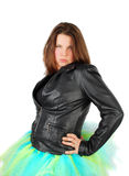 Woman in black jacket and ballet costume. Royalty Free Stock Image