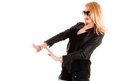 Woman in a black jacket Royalty Free Stock Photos