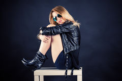 Woman in a black jacket Stock Photo