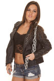 Woman black jacket over lace chain around neck Stock Photography