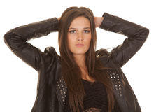 Woman black jacket over lace close Stock Image