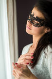 Woman in black lace mask. Stock Photography