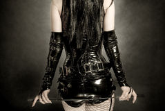Woman in black latex corset Royalty Free Stock Photography